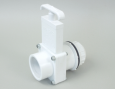 "Gate Valve, PVC, 1 1/2"" Tank Drain, w/ 1 1/2"" Male Tank Adapter, 1 1/2"" Female Slip Fitting"