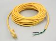 Power Cord, 16/3 Yellow, Smooth Jacket, 50', Molded Plug, Brass Plug Blades