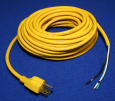 Power Cord, 18/3 Yellow, 50', Molded Plug, Nickel Plated Plug Blades