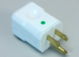 "Power Cord Plug, Hospital Grade, White, ""Green Dot, Brass Blades, Grounded Terminals"