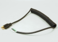 Coiled Charger Cord, Std 5-15 Brass Molded Plug, 18 Gauge, 3 Wire