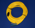 Power Cord, 14/3 Yellow, 50', Molded Plug, Nickel Plated Plug Blades
